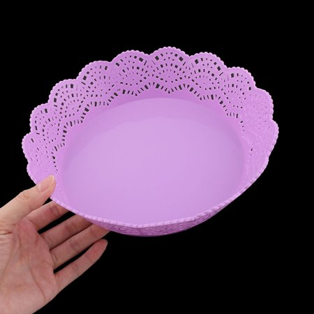 Plastic Hollow Design Tea Table Candy Snack Fruit Holder Basket Container Purple - image 2 of 4