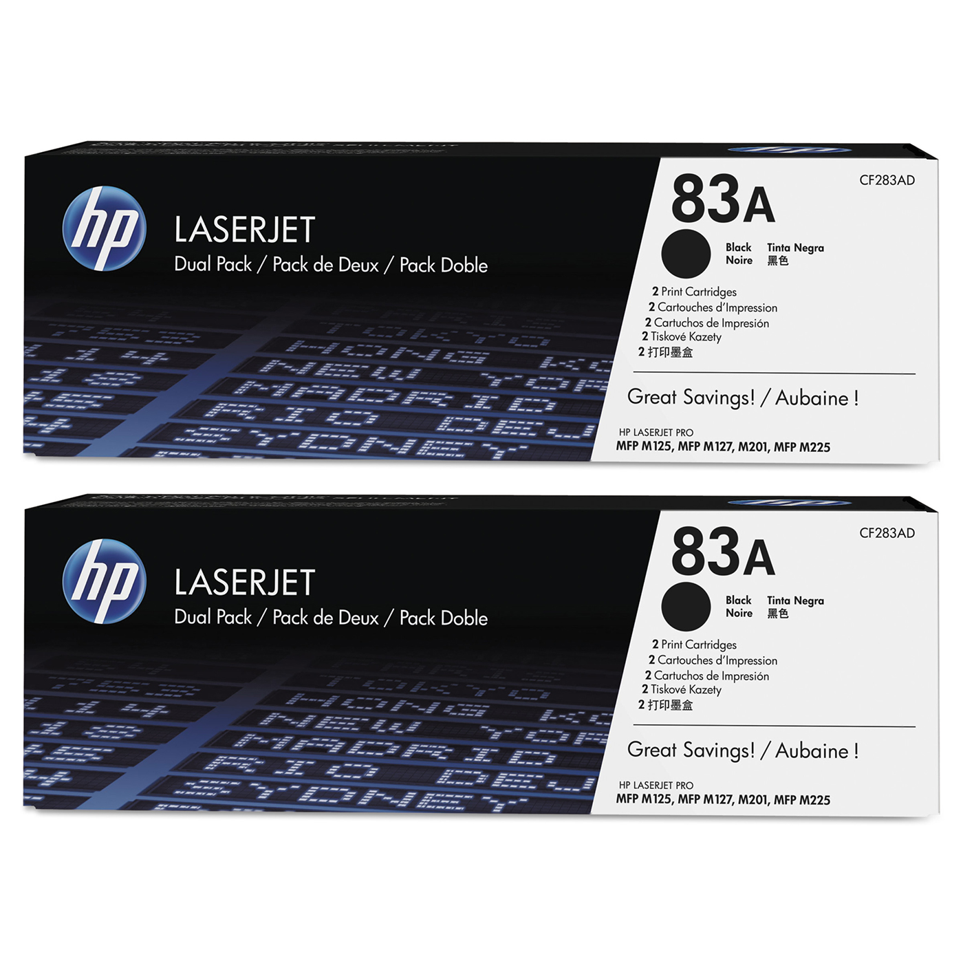 Buy two HP83A Black Toner dual packs and get $25 off