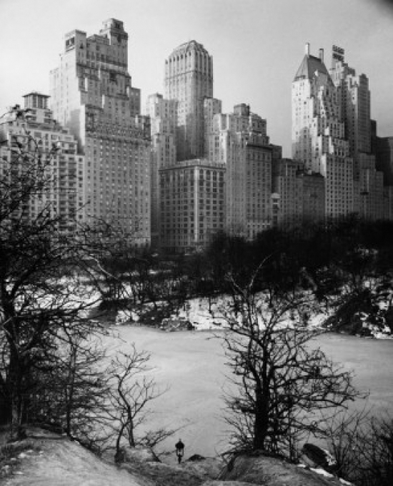 Central Park Manhattan: Snow Covered Park In Front Of Skyscrapers Central Park