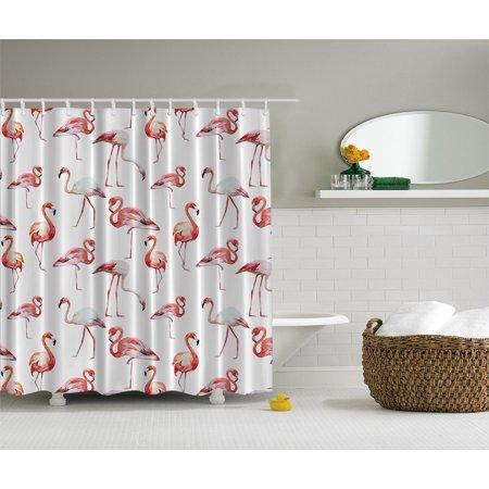 Flamingo Decor Beauty Balance Grace Symbol Animals Print Xlong Shower Curtain