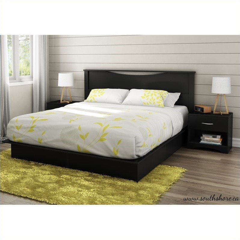 South Shore Step One King 4 Piece Bedroom Set in Pure Black by South Shore