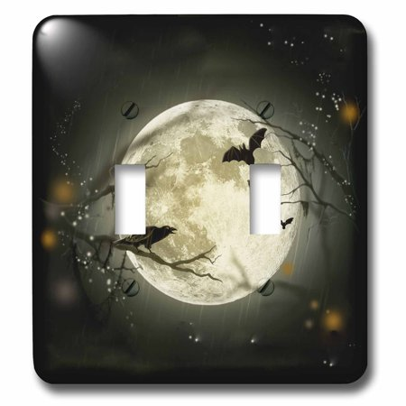 3dRose Full Moon with a Crow and Bats Double Toggle Switch lsp 156735