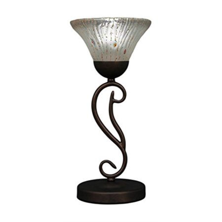 Toltec Lighting 44-BRZ-751 Olde Iron One-Light Mini Table Lamp Bronze Finish with Frosted Crystal Glass Shade, 7""