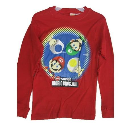Super Mario Big Boys Red Cartoon Character Print Long Sleeve Shirt