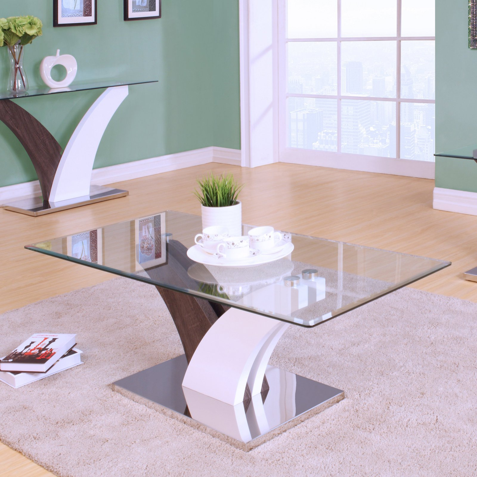 ACME Forest Coffee Table, Clear Glass, White & Walnut by Acme Furniture