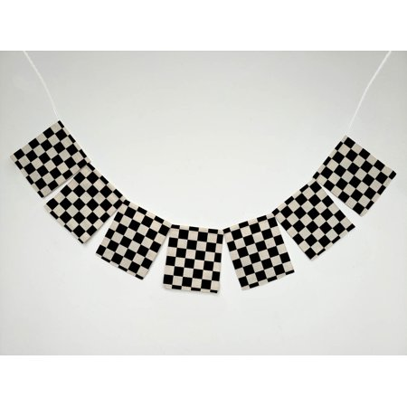 GCKG Black White Checkered Pattern Banner Bunting Garland Flag Sign for Home Family Party Decoration
