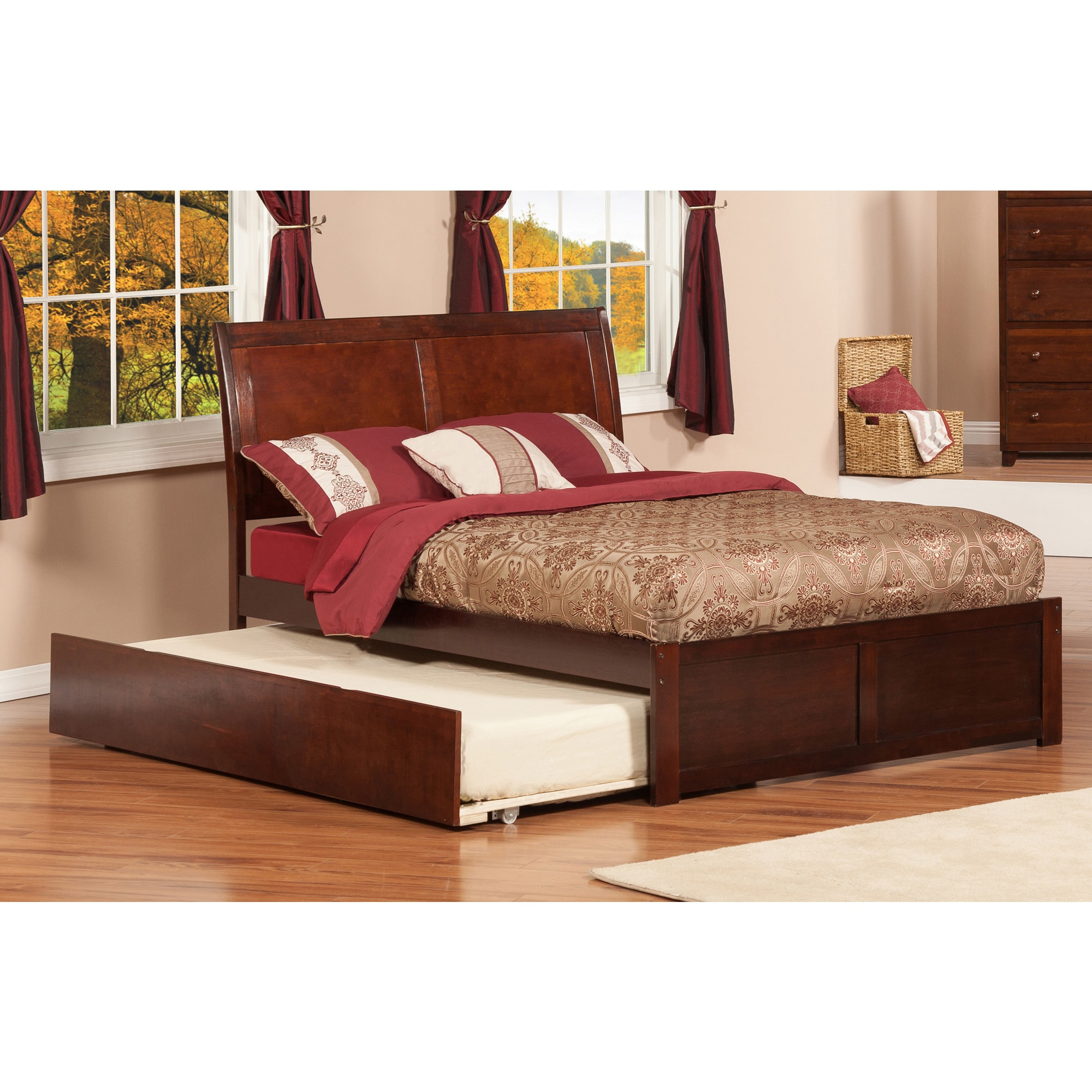Atlantic Furniture Portland Walnut Brown Panel Full-size Bed with Trundle Bed by Overstock