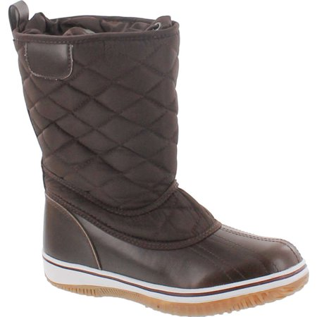 Waxy Calf Footwear (Refresh Snow-01  Women's Lace Up Waterproof Quilted Mid Calf Winter Snow Boots)
