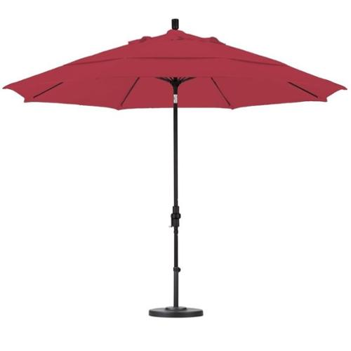 California Umbrella 11' Market Patio Umbrella with Collar Tilt in Red