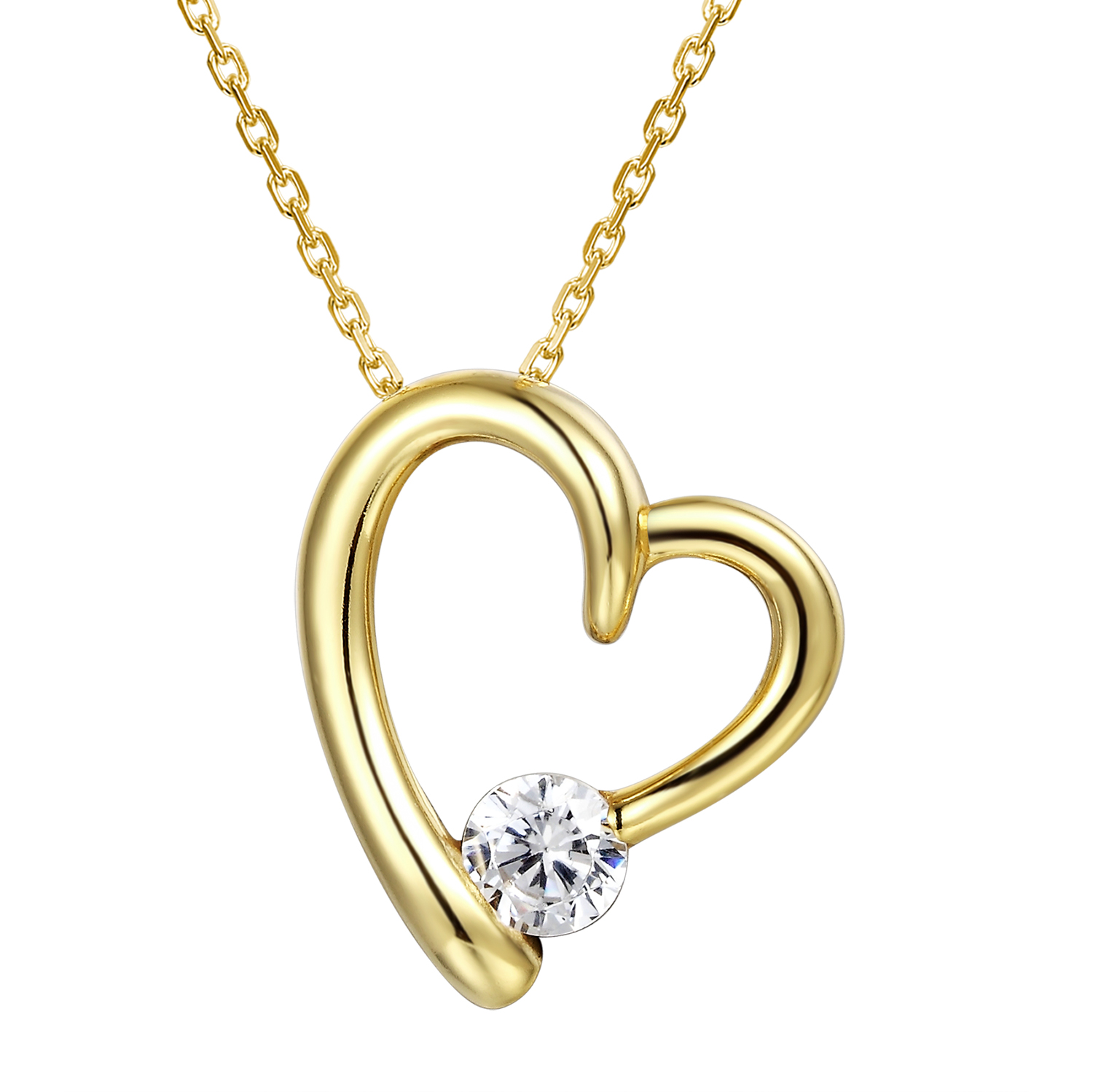 Rose Gold Tone Heart Pendant Solitaire Simulated Diamond 925 Silver Free Necklace