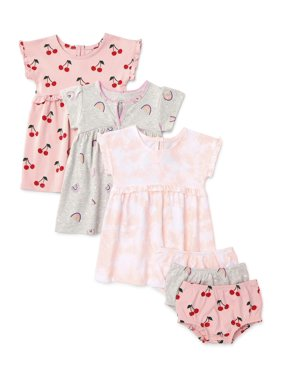 Wonder Nation Baby Girl Knit Dresses, 3pk