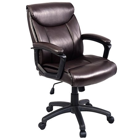 costway ergonomic pu leather mid back executive computer. Black Bedroom Furniture Sets. Home Design Ideas