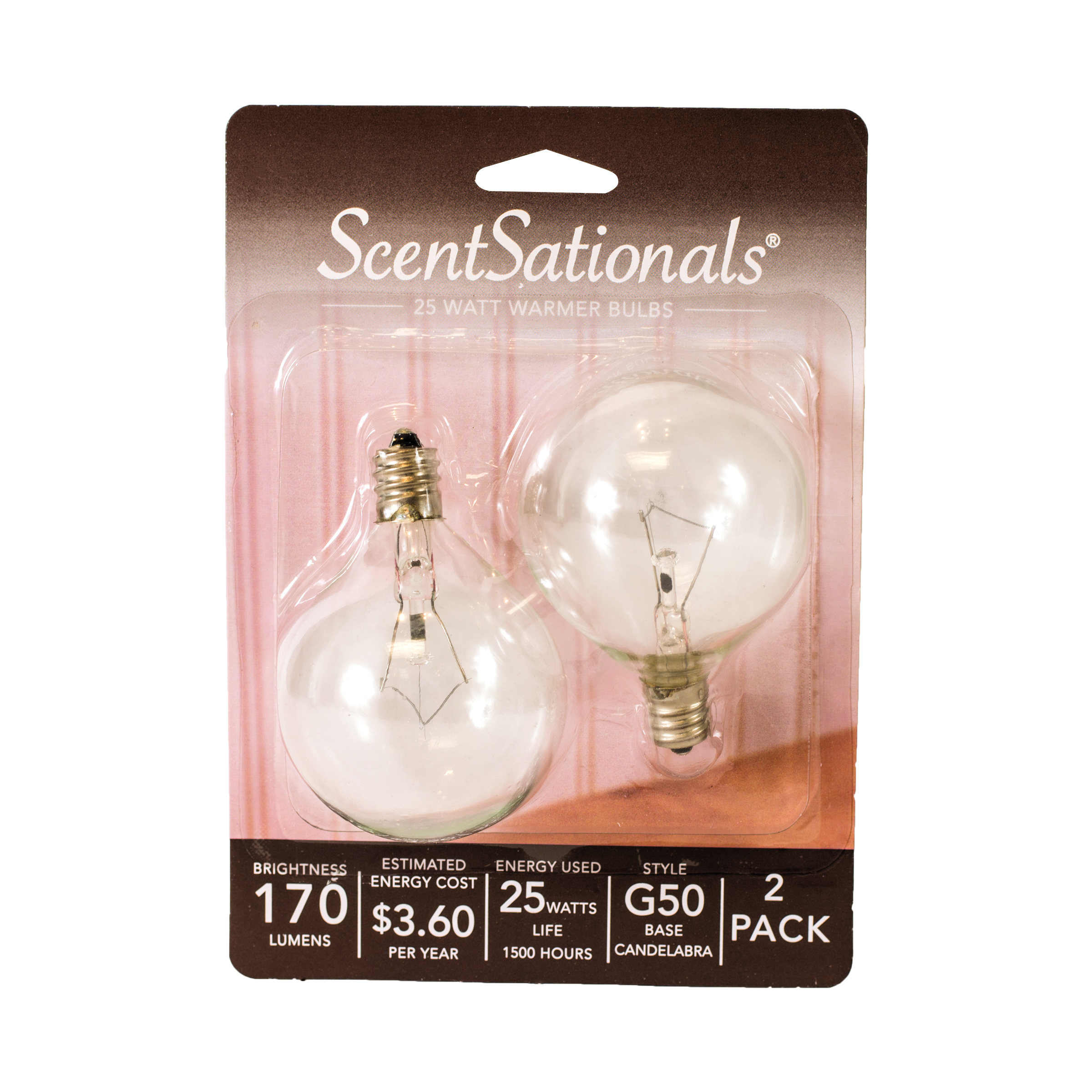 ScentSationals 25 Watt Replacement Wax Warmer Clear Light Bulbs, 2 Pack