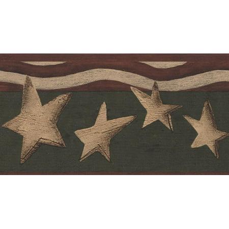 Wallpaper Border - Beige Stars Red Stripes Patriotic Pine Green Wall Border Retro Design, Roll 15 ft X 4 in Stripe Wallpaper Design