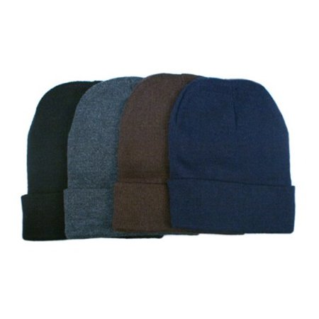 - 3 Plain Beanie Ski Cap Skull Hat Warm Solid Color Winter Cuff New Beany Men Lady