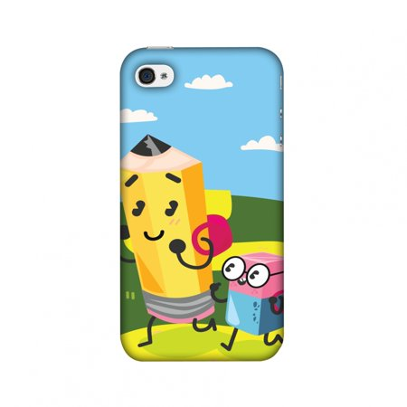 iPhone 4S Case, iPhone 4 Case - Cute Pencil & Eraser,Hard Plastic Back Cover, Slim Profile Cute Printed Designer Snap on Case with Screen Cleaning Kit](Iphone Eraser)