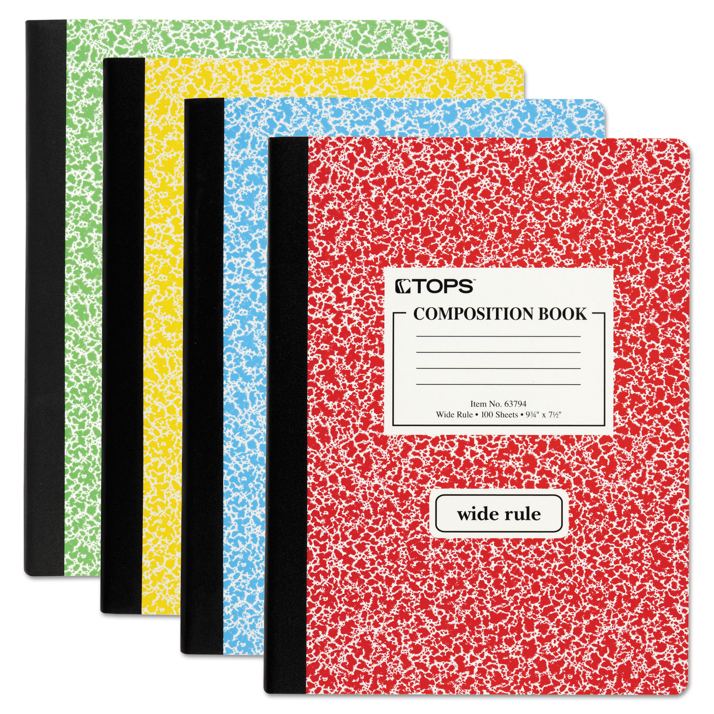 "TOPS Composition Book with Hard Cover, Legal/Wide, 9 3/4"" x 7 1/2"", White, 100 Sheets"