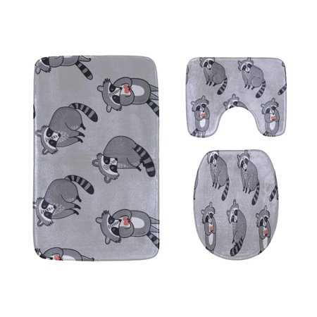 EREHome Cute Cartoon Raccoon 3 Piece Bathroom Rugs Set Bath Rug Contour Mat and Toilet Lid Cover - image 2 de 2