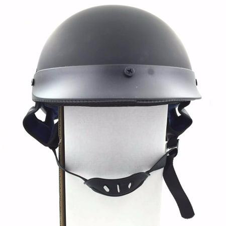 HTT Motorcycle DOT Certified Matte Black Flat Black Harley Davidson Half Face Helmet Chopper Cruiser Biker