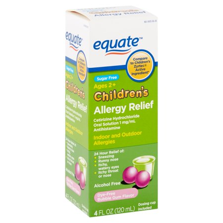 Equate Children's Allergy Relief Cetirizine Hydrochloride Oral Solution, Bubble Gum, 4 fl