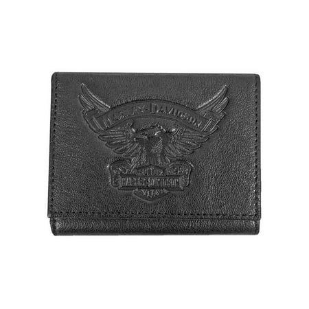 Harley-Davidson Men's Eagle Emboss Leather Tri-Fold Wallet, Black EE9052L-BLK, Harley Davidson (Mens Harley Davidson Wallets)