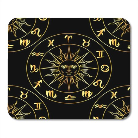 POGLIP Zodiac Signs and Medieval Sun Seamless Pattern Vector Graphics Astrology Mousepad Mouse Pad Mouse Mat 9x10 inch - image 1 of 1