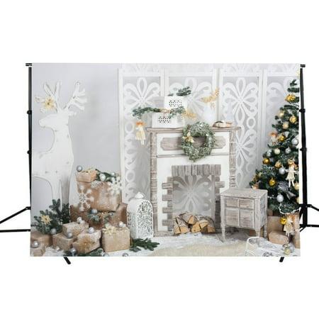 HelloDecor Polyster 7x5ft Christmas Theme Photography Backdrops Christmas Tree Gift Boxes Balls Photo Studio Background Backdrops for Photography - Christmas Backgrounds For Photography