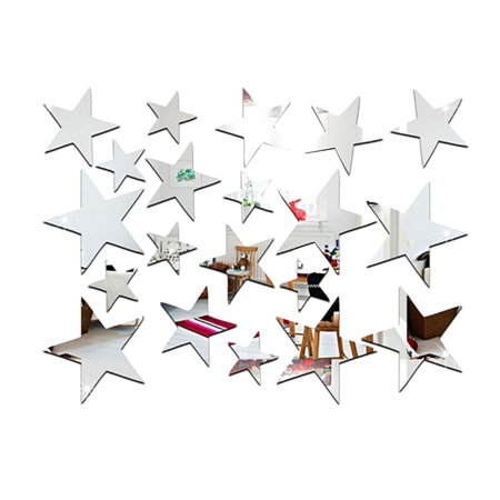 20pcs/set Star Shape Mirror Stickers 3D Acrylic Stars Mirrored Decals DIY Room Home Decoration Wallpaper (Wallpapers Halloween 3d Gratis)