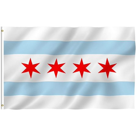 Durable Polyester Flag Measures - NEW City of Chicago 3'x5' Polyester Flag 3x5, Quality Material - Made of Durable Polyester. Strengthened by Double Stitching, Canvas Header and Two Brass.., By Rico IndustriesTag Express,USA