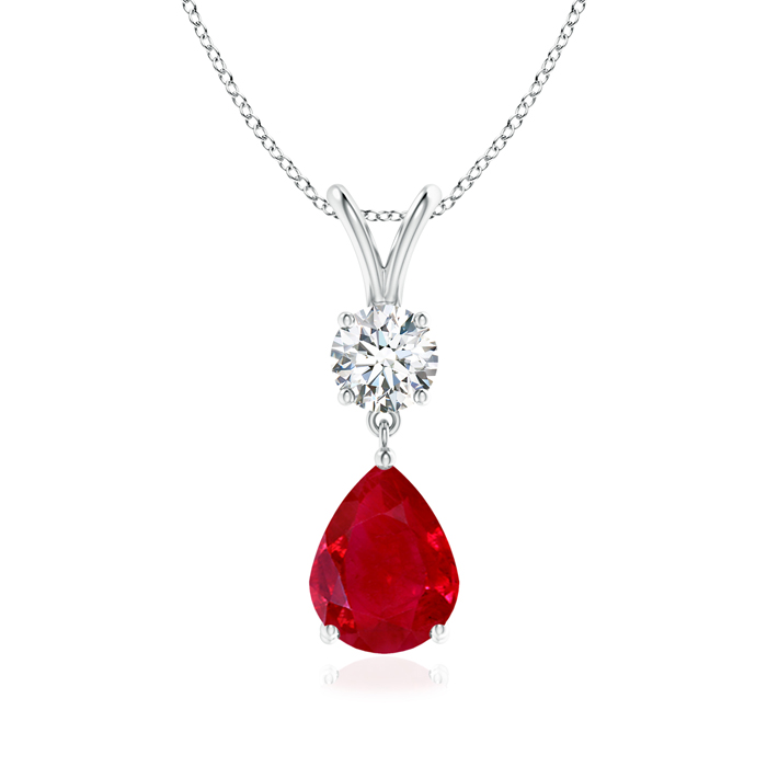Angara Diamond Ruby V-Bale Pendant in Platinum - July Birthstone Pendant uwemUeu