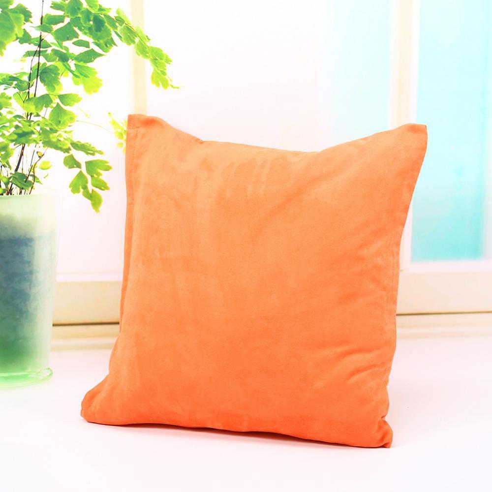 Herchr Solid Color Cotton Canvas Cushion Cover Home Decor Throw Pillow Case Lounge Orange