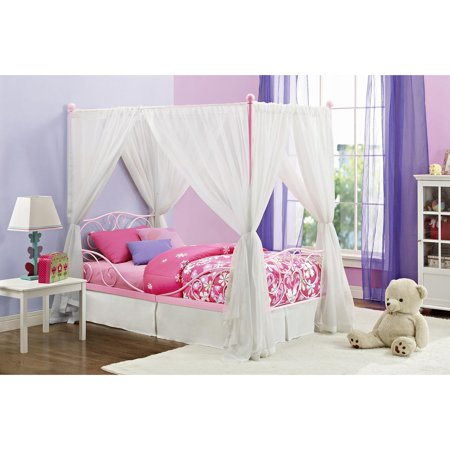 DHP Fancy Metal Canopy Bed, Twin, Multiple Colors, With Headboard ()