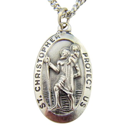 Silver Tone Saint Christopher Medal Pendant on Chain, 1 3/8 (Free Catholic Medals)