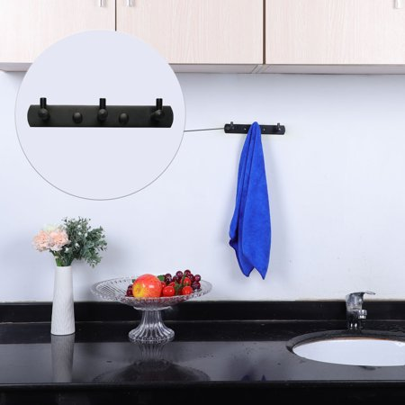 Stainless Steel Bathroom Hotel Towel Hanger Rack Holder Painting Black 3 Hooks - image 2 de 7