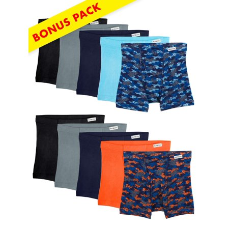 Covered Waistband Print/Solid Boxer Briefs, 7+3 Bonus Pack (Little Boys & Big Boys)