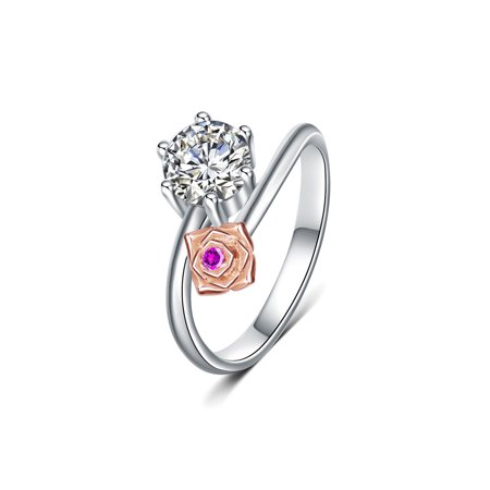 Emma Manor Women Fine Jewelry Silver Wedding Bands Ring, Gold Plated Rose Promise 1ct Cubic Zirconia Ring, Size 5-9