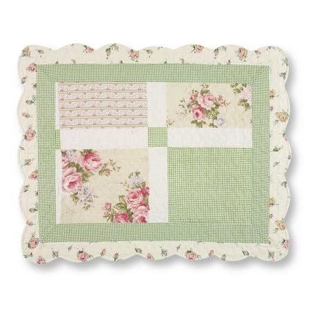 Dollhouse Patchwork (Miniature Floral Border Cottage Patchwork Pillow Sham)