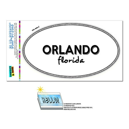 Orlando, FL - Florida - Black and White - City State - Oval Laminated Sticker