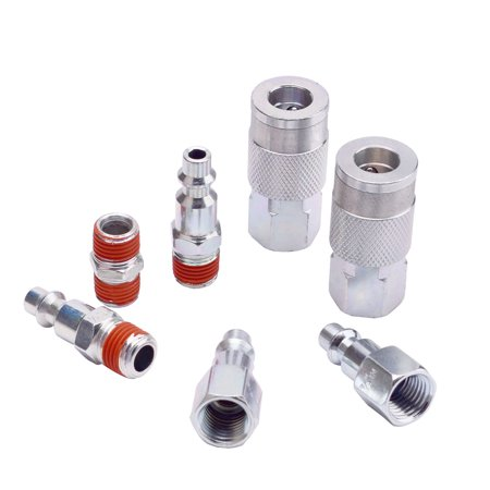 WYNNsky Air Coupler and Plug Kit, 1/4' NPT Air Fittings Industrial Type I/M, 7 Piece Air Compressor Accessories Kit