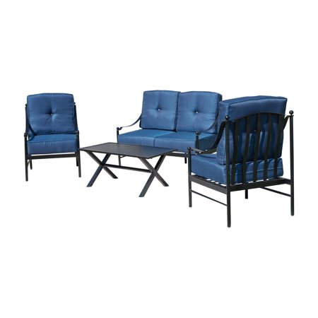 Every Season Iron 4 Piece Sofa Patio Conversation Set with Arm Chairs ()
