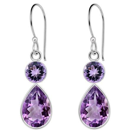 4.56 Ctw Purple Amethyst 925 Sterling Silver Drop Dangle Earrings, Pear and Round Cut Earring For Women Cut Amethyst Earrings Jewelry