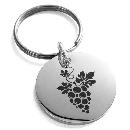Medallion Wine (Stainless Steel Dionysus Greek God of Wine Engraved Small Medallion Circle Charm Keychain Keyring)