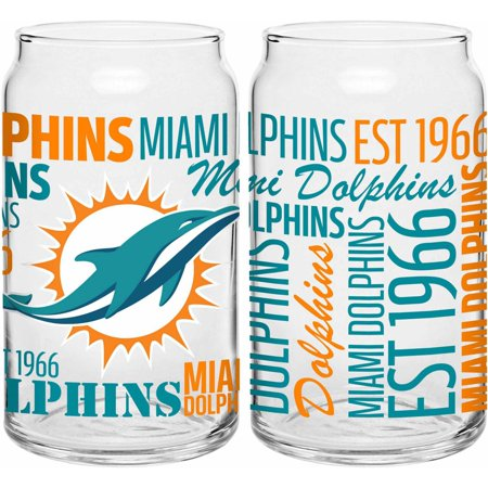 Boelter Brands NFL Set of Two 16 Ounce Spirit Glass Can Set, Miami Dolphins by