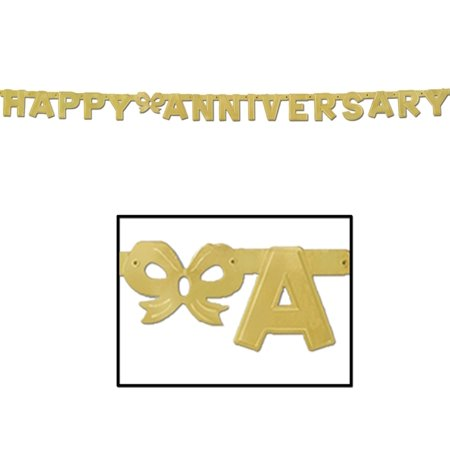 Happy Anniversary Gold Jointed Letter Banner