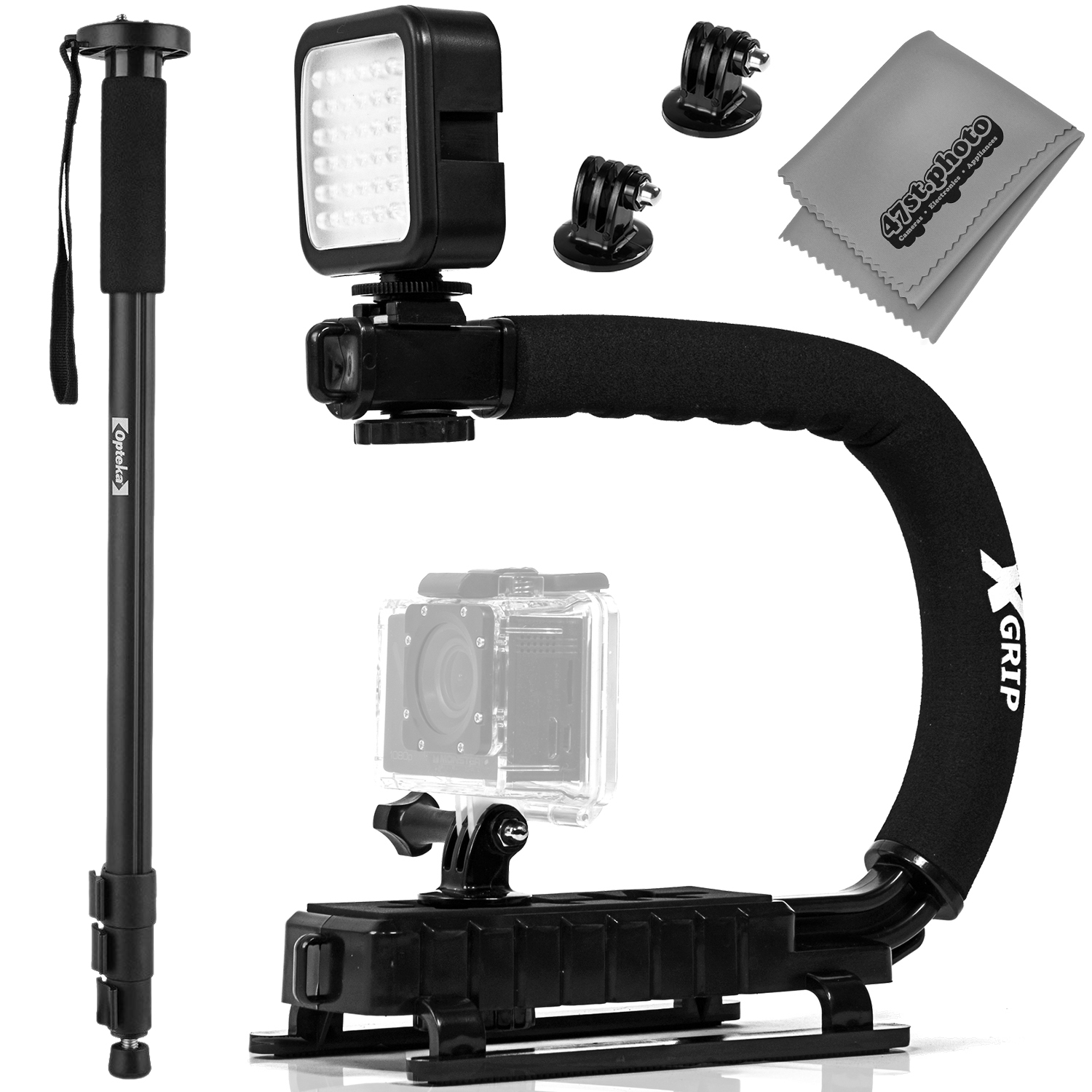 """opteka x-grip professional camera / camcorder action stabilizing handle with accessory shoe + led light + 67"""" monopod"""