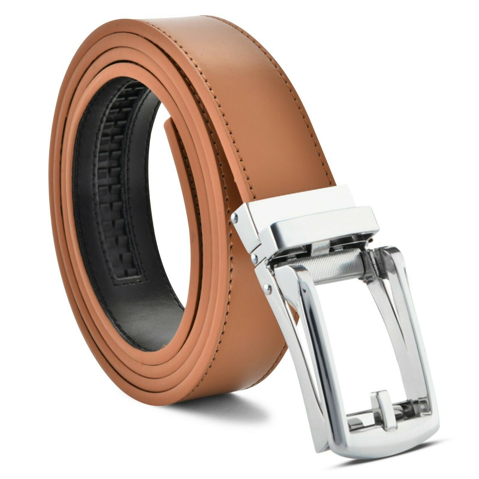 Men/'s Fashion Designer Leather Silver Brown Track Buckle Sliding no hole Belts