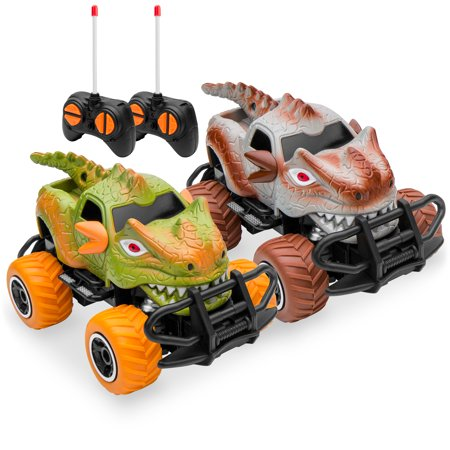 Best Choice Products Set of 2 1/43 Scale 27MHz Dinosaur RC Remote Control Car Toys w/ 9mph Max Speed, Light Up Eyes, 2 Controllers Remote Control Set