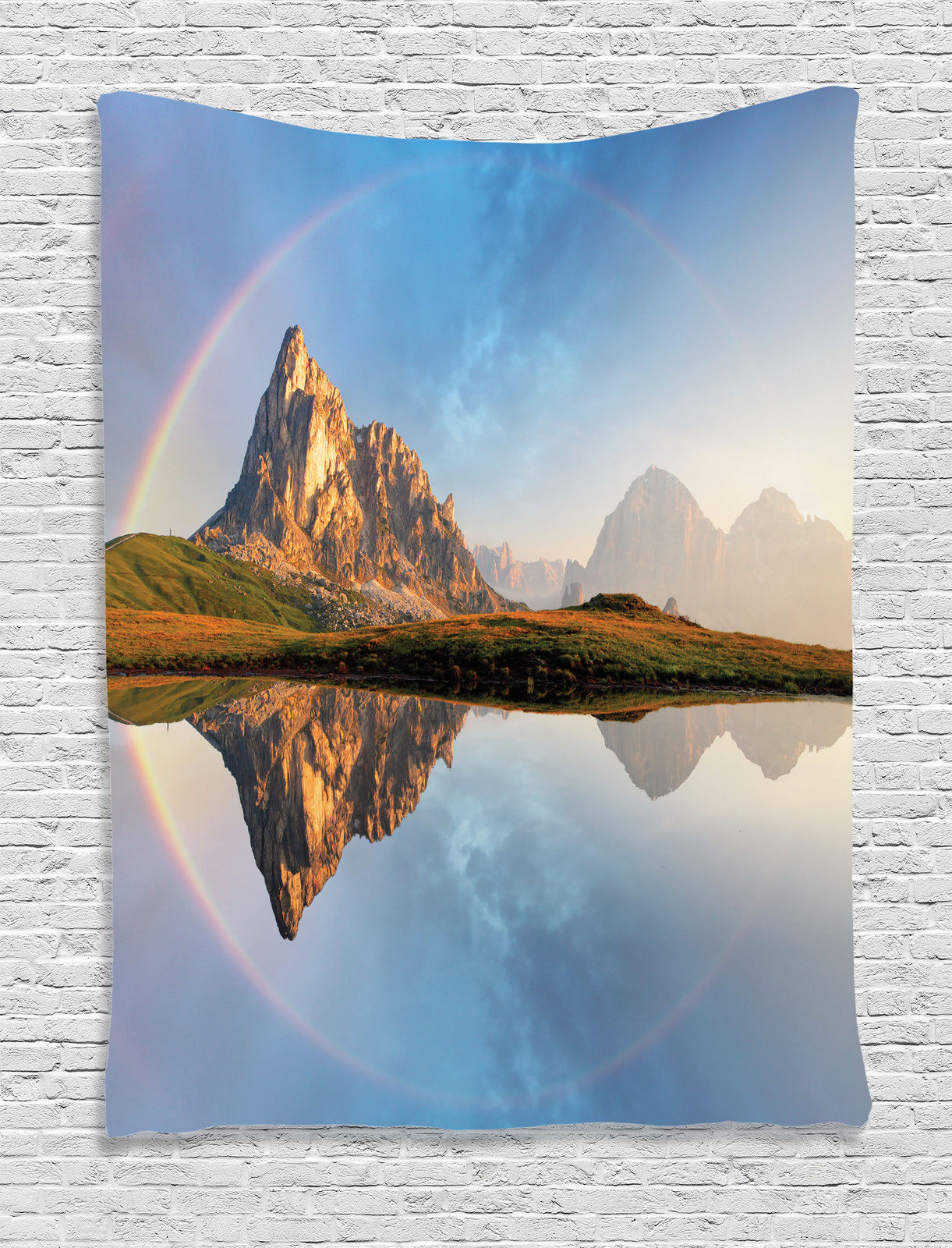 Click here to buy Lake House Decor Wall Hanging Tapestry, Rainbow Over Mountain Lake Reflection In Crystal Water Dreamy Spots On Earth Purity Photo, Bedroom... by Kozmos.