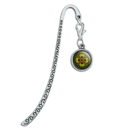 Four Leaf Clover Lucky Metal Bookmark Page Marker with Charm