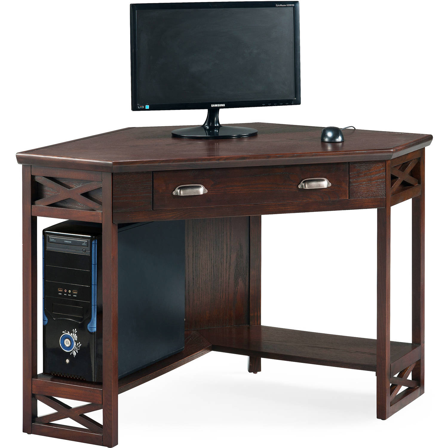 Leick 48 in. Corner Computer Writing Desk Chocolate Oak by Leick Furniture